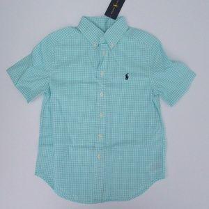 NWT Ralph Lauren SS Mint Gingham Plaid Shirt NEW